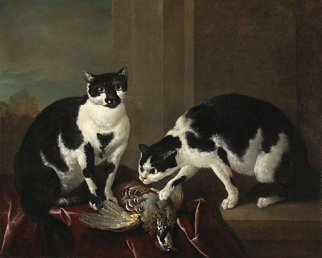 Gatos en bodegón de caza
