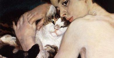Pintura de Pierre Auguste Renoir donde aparacece niño con gato