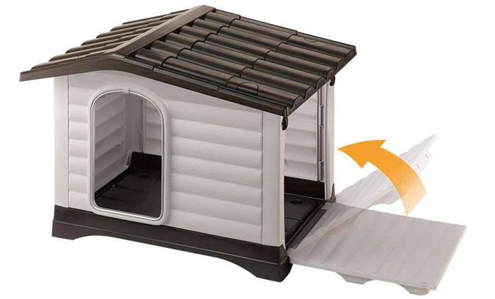 caseta de plástico para perro que se abre por un lateral
