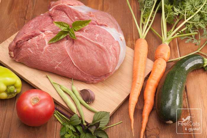 comida natural deshidratada para perros y gatos, de productos frescos