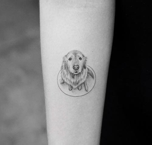 tatuaje de perro labrador en el brazo